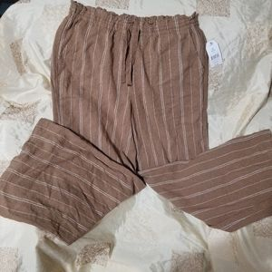 bell bottomed pin striped draw strings pants